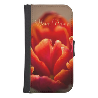 Pretty Red Tulip Petals. Add Your Name. Samsung S4 Wallet Case