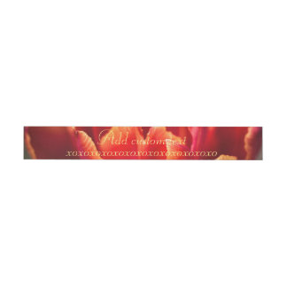 Pretty Red Tulip Petals photo. Add Name or Text. Wraparound Address Label