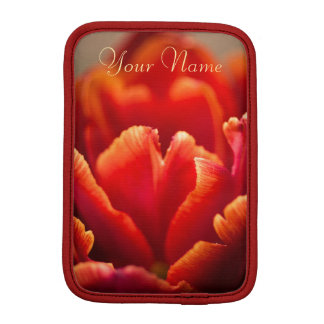 Pretty Red Tulip Petals photo. Add Your Name. iPad Mini Sleeve
