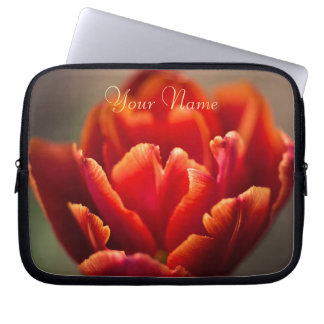 Pretty Red Tulip Petals photo. Add Your Name. Laptop Sleeve