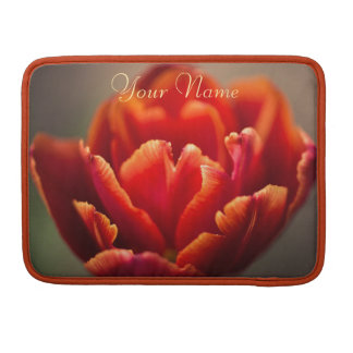 Pretty Red Tulip Petals photo. Add Your Name. Sleeve For MacBook Pro