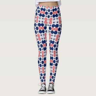 Pretty Red White Blue Star Pattern Leggings