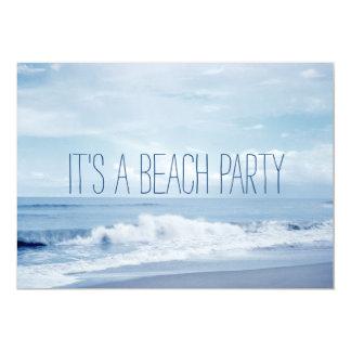 Pretty Retro Blue Florida Ocean Beach Card