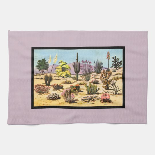 Pretty Retro Cactus Chart Girly Dusty Pink Desert Hand Towel