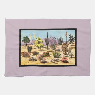 Pretty Retro Cactus Chart Girly Dusty Pink Desert Kitchen Towel