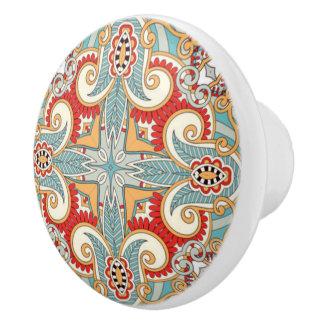 Pretty Retro Chic Red Teal Floral Mosaic Pattern Ceramic Knob