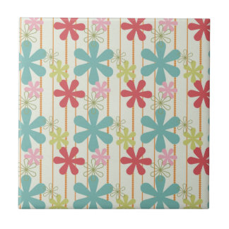 Pretty Retro Colorful Wall Flowers Stripes Pattern Tile