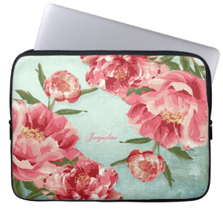 Pretty Retro Flower Chintz Peonies Personalized Laptop Sleeve