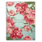 Pretty Retro Flower Chintz Peonies Personalized Notebook