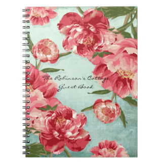 Pretty Retro Flower Chintz Peonies Personalized Notebooks