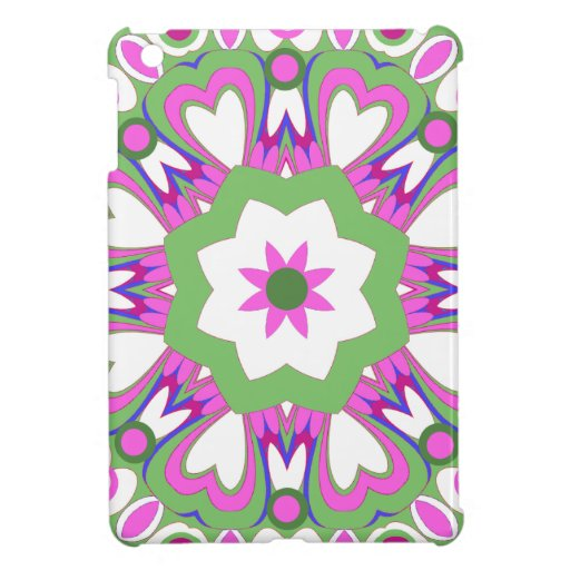 Pretty Retro Pink & Green Flower iPad Mini Case