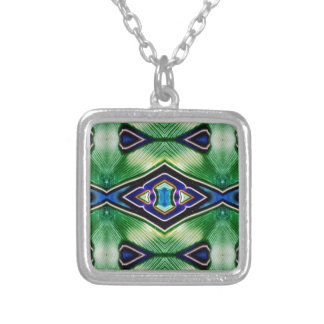 Pretty Rich Shades Of Green Blue Lavender Silver Plated Necklace