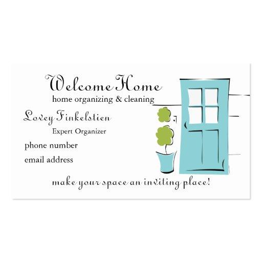 Pretty Robin's Egg Blue Door Business Card Template