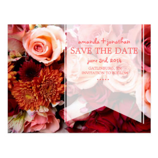Pretty Romantic Pink Roses Save The Date Postcard