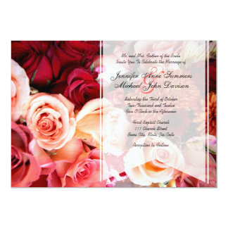 "Pretty Romantic Pink Roses Wedding 5"" X 7"" Invitation Card"
