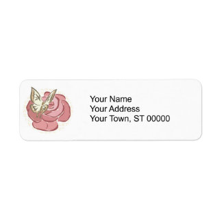 pretty rose and butterfly design return address labels