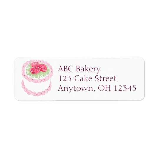 Pretty Rose Frosted Cake Label Return Address Label