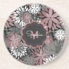 Pretty rose gold floral illustration pattern coaster
