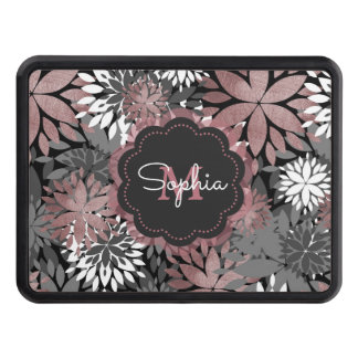 Pretty rose gold floral illustration pattern trailer hitch cover