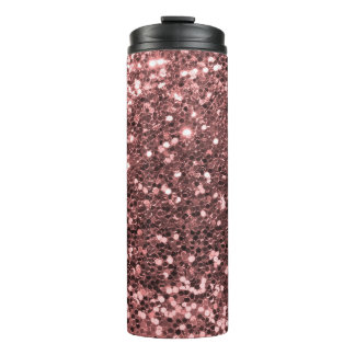 Pretty Rose Gold Pink Faux Glitter Sparkle Thermal Tumbler
