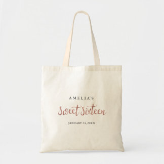Pretty Rose Gold Sweet Sixteen Tote Bag