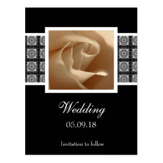 Pretty Rose Wedding Save The Date Postcard