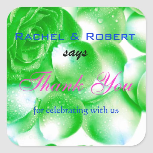 Pretty Rose Wedding Thank You Label Stickers