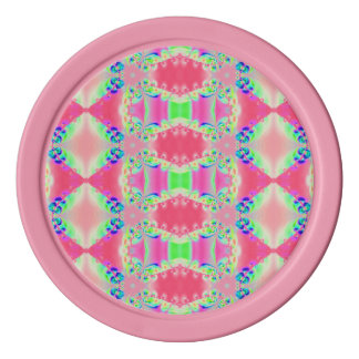 Pretty Rosy Pink Pattern Poker Chips