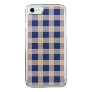Pretty Royal Blue and White Gingham Check Pattern Carved iPhone 7 Case