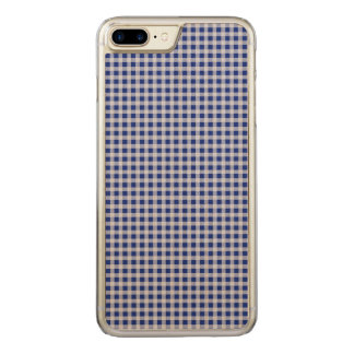 Pretty Royal Blue and White Gingham Check Pattern Carved iPhone 7 Plus Case