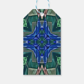 Pretty Royal Blue Cross Shape Pattern Gift Tags