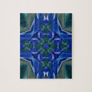 Pretty Royal Blue Cross Shape Pattern Jigsaw Puzzle