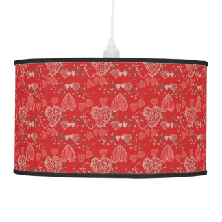 Pretty ruby red grey cherry blossom doodle hearts ceiling lamp