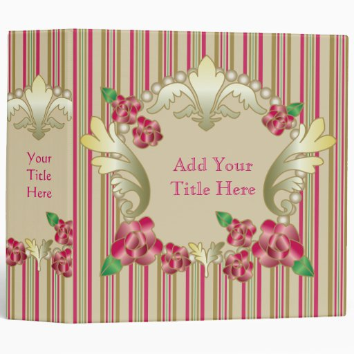 Pretty Ruby Red Roses Gold Ornament Pearls Stripes Binder