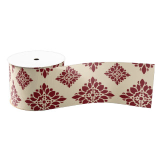 Pretty Rustic Floral Red Vintage Damask Pattern Grosgrain Ribbon