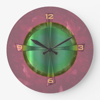 Pretty Salmon Pink and Green> Kitchen Clock