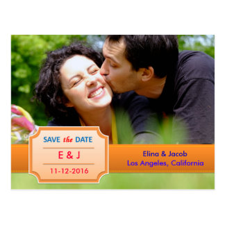 Pretty Save the Date Photo Postcard I Orange