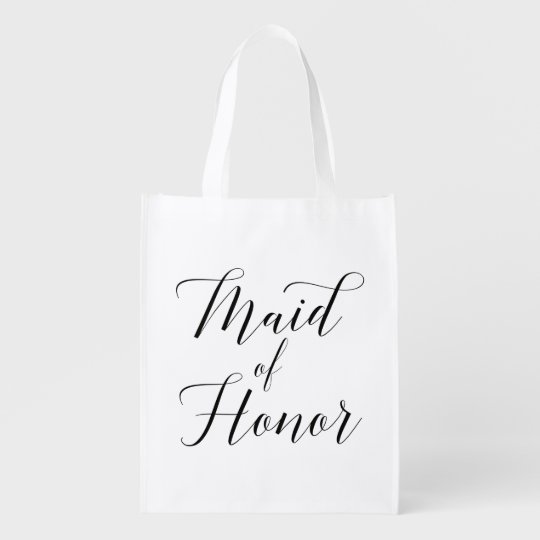 Pretty Script Maid Of Honour Bag Reusable Grocery Bags