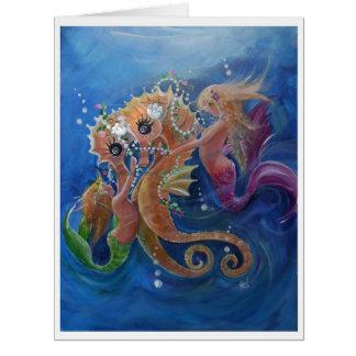 Pretty Sea horses and Mermaids Card