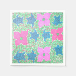 Pretty Sea Turtle and Flower Paper Napkins