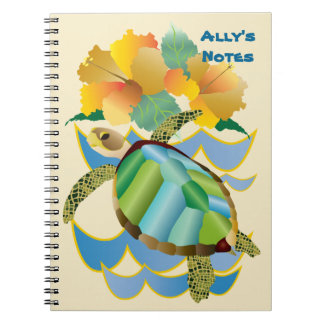 Pretty Sea Turtle Tropical Yellow Hibiscus Flowers Spiral Notebook