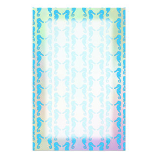 Pretty Seahorse Pattern. Blue and Pastel Multi. Stationery