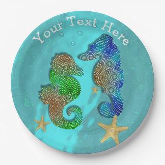 Pretty Seahorses Swimming In Blue Sea Paper Plate