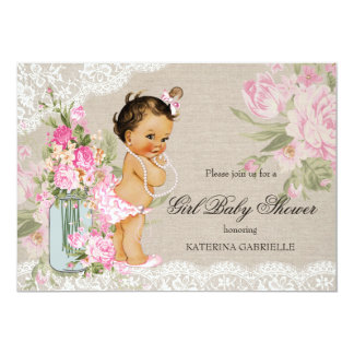 "Pretty Shabby Chic Lace Floral Baby Shower 5"" X 7"" Invitation Card"