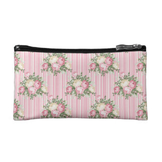 Pretty Shabby Chic pink rose bouquet Makeup Bags
