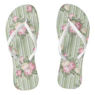 Pretty shabby chic pink roses green stripes flip flops