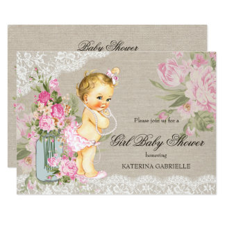 Pretty Shabby Lace Floral Girl Baby Shower Blonde Card