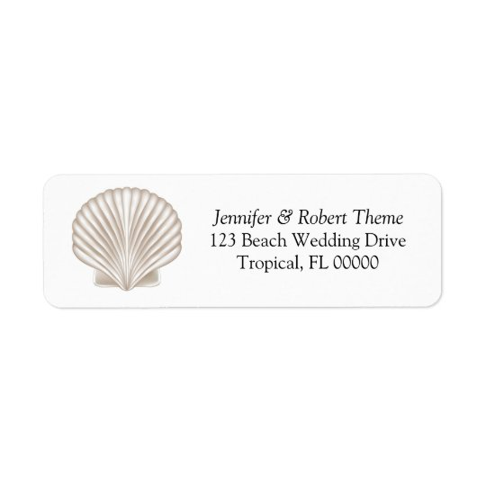 Pretty Shell Beach Wedding Invitation Mail Label Return Address Label