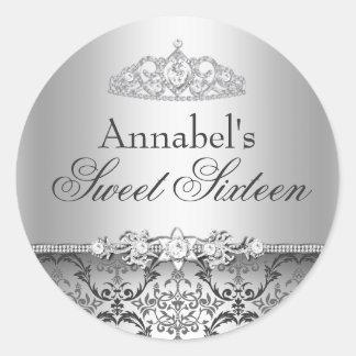 Pretty Silver Damask Sweet 16 Sticker