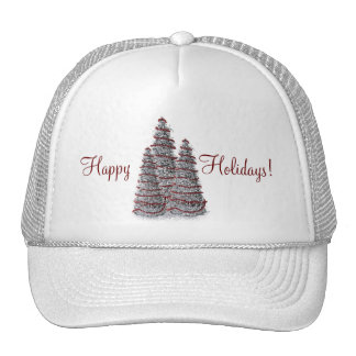 Pretty Silver Happy Holidays Christmas Trees Hat